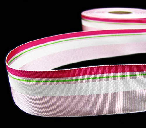 5 Yards Valentine Pink Light Pink White Striped Acetate Grosgrain Ribbon 1 1/2