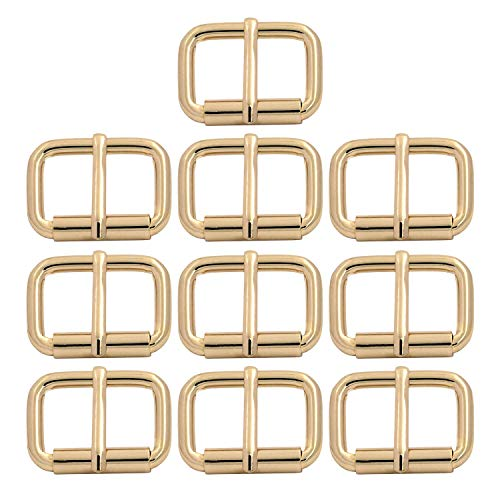Roller Buckle, 1'' x 3/5'' Heel Rolling Bar Buckles for Bags Leather Webbing Straps, Light Gold - Pack of 10