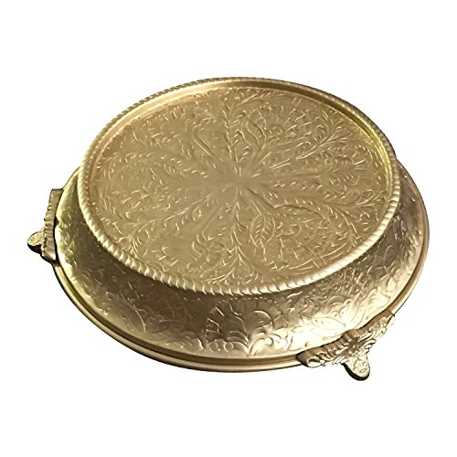 GiftBay Wedding Cake Stand Tapered 12-Inch Round, Gold Finish, Built of Strong Aluminum for Multi-Layer Cake Weight (Gold Finish Stand)