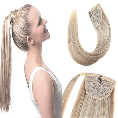 Sunny 18inch Remy Hair Extension Ponytail Brown Highlight Brazilian Human Hair Clip in Ponytail Extension 100% Real Human Hair 80g ltd