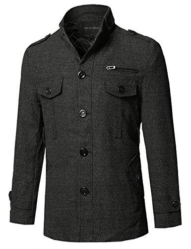 Style by William Classic Tweed Pattern Slanted Side Pockets Detachable Belt Coat Dark Grey L (Wool Jacket Tweed)