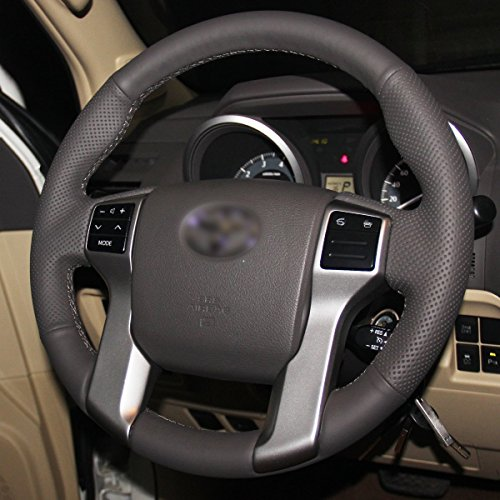 Loncky Black Genuine Leather Custom Steering Wheel Covers