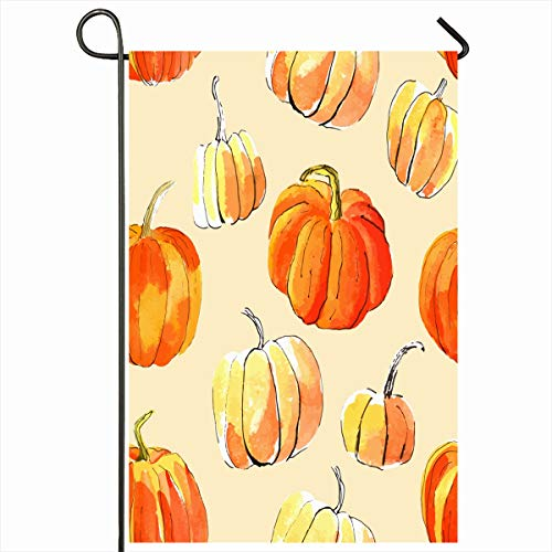Ahawoso Outdoor Garden Flag 12x18 Inches October Fresh Green Abstract Pumpkins Watercolor Orange Two Scroll Autumn Berry Branch Bright Closeup Home Decor Seasonal Double Sides House Yard Sign -