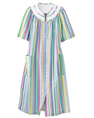 (National Rainbow-Stripe Plissé House Coat, Multi, 1X Plus - Misses, Womens )
