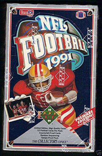 1991 Rookie Card (1991 Upper Deck Football Wax Pack Box Brett Favre Rookie Card Set RC FACTORY)
