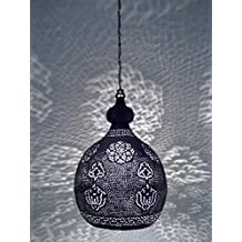B86 Antique Reproduction Handmade Moroccan Hanging Brass Filigrain Lampshade