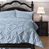 3-Piece Pinch Pleat Comforter Set - Goose Down Alternative Filling - Perfect for Autumn/Winter, California King, Light Blue
