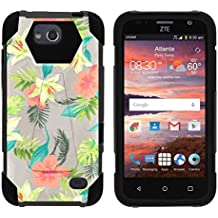TurtleArmor   ZTE Majesty Pro Case [Dynamic Shell] Hard Hybrid Kickstand Silicone Impact Cover Protection Girl Designs - Hawaiian Flowers