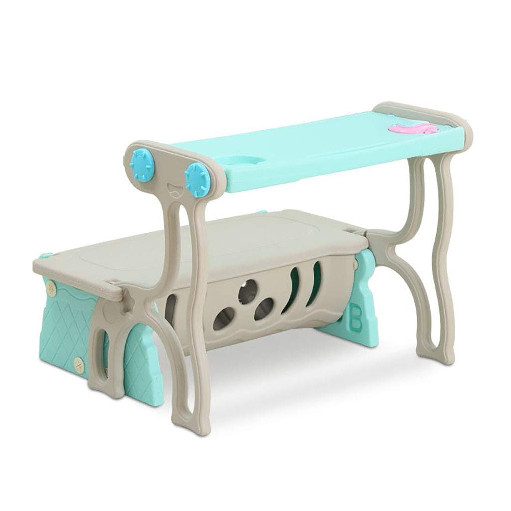 Children's Multi-Function Study Table Foldable Deformation Sofa Chair Kids Activity Eating Table Child Game Storage Table and Chairs Set Pink/Blue by Children Desk