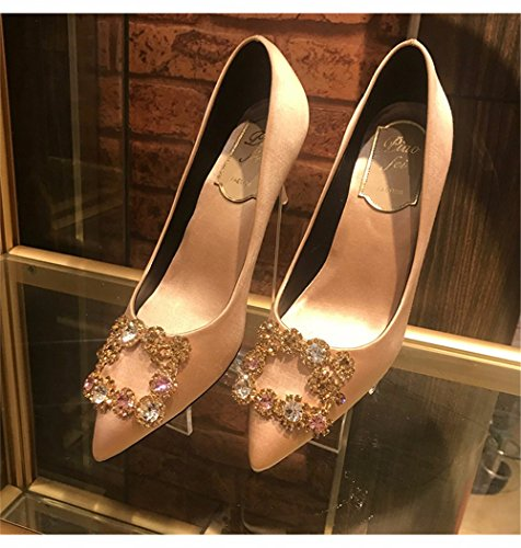 Party New Heel The Autumn champagne Water Shoes Women For High With Shoes HXVU56546 Shoes Single Drilling Wedding Wild Tip Shoes Fine 50wPxSq