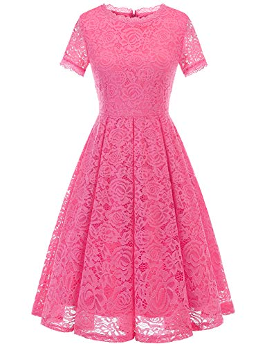 DRESSTELLS Women's Bridesmaid Vintage Tea Dress Floral Lace Cocktail Formal Swing Dress Rose -