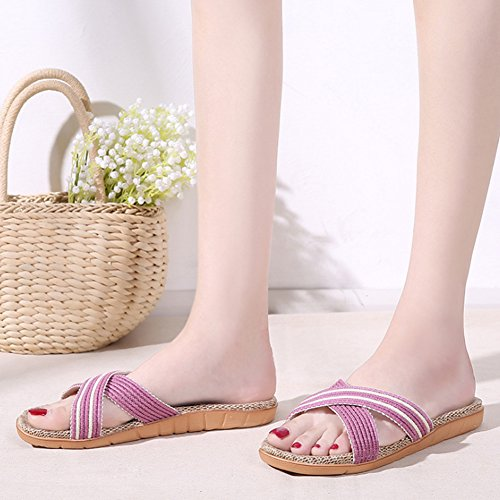 Lightweight Women Breathable Slippers Unisex Purple Men for Flat HRFEER Sandals Summer Flax Beach Shoes pBxw1X