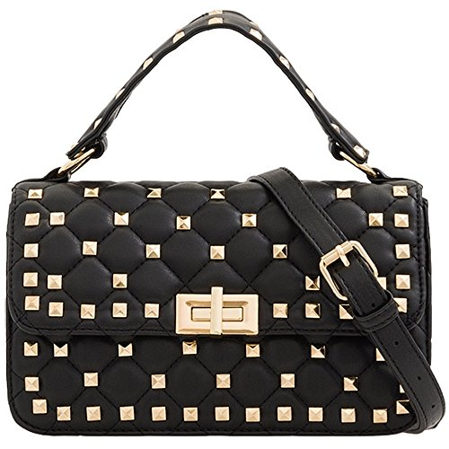 Ladies Messenger KT2175 Cross Handbag Body Purse Clutch Quilted Black Bag Studded Women's 7xqr7wa0
