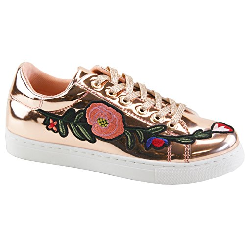 SNJ Womens Floral Embroidered Platform Fashion Sneakers Rose Gold Flower Embroidered 4V6jmS