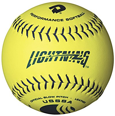 DeMarini Lightning USSSA Women's Classis W Series Slowpitch Leather Softball (12-Pack), 11-Inch, Optic Yellow by DeMarini