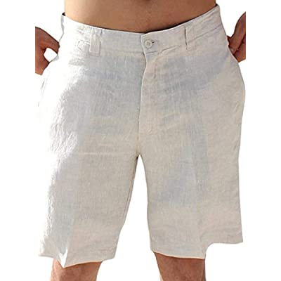 Mens Linen Golf Shorts Summer Casual Board Shorts Classic Fit Short Work Pants at Men's Clothing store