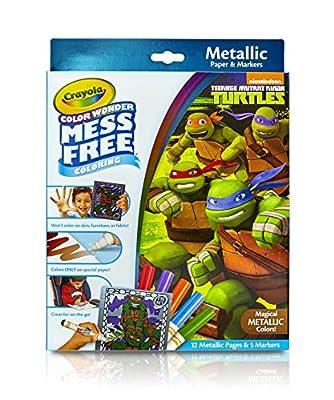 Crayola, Teenage Mutant Ninja Turtles, Color Wonder Mess-Free Coloring Metallic Paper and Markers, Art Tools, Great for Travel