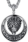 "Men's Stainless Steel Large Lion Celtic Knot Biker Pendant Necklace, 24"" Chain, aap055"
