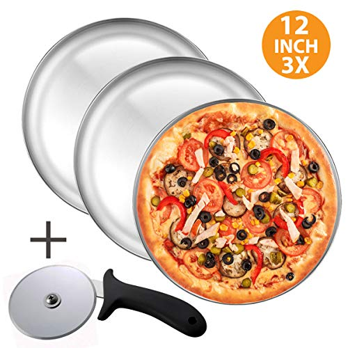 Pizza Pan and Pizza Cutter Set, Includes - Three 12 Inch Pizza trays + Pizza Cutter Wheel - Durable Non-Stick Aluminum Bakeware, for Restaurants and Homemade Pizza Baking, Dishwasher Safe