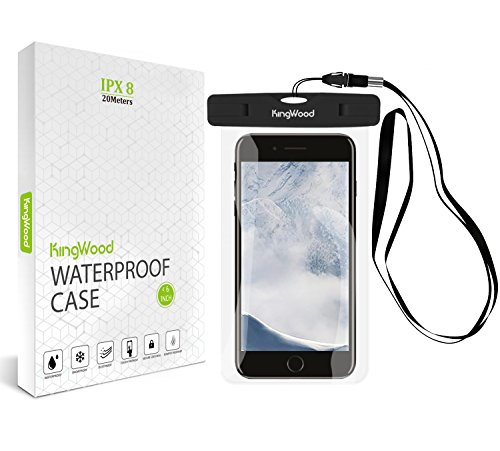 [2 Pack] Universal Waterproof Case, KingWood Cell phone Dry Bag Pouch with Lanyard Strap IPX8 for Apple iPhone X/8/7 Plus, Samsung Galaxy s8 Plus/s7 edge, LG, HTC, SONY, Google Pixel up to 6.0