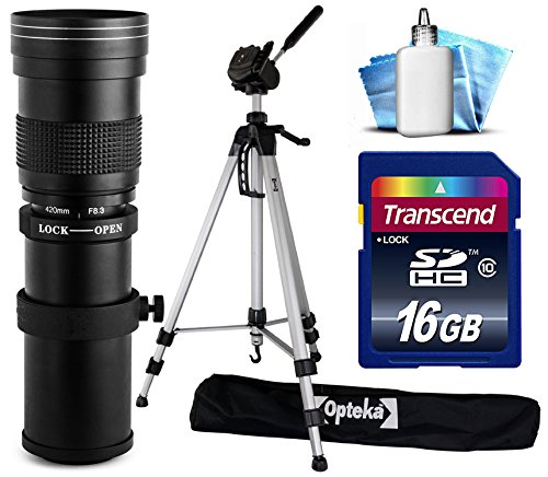 Opteka 420-800mm f/8.3 HD Telephoto Zoom Lens Bundle Package includes 70