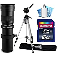 Opteka 420-800mm f/8.3 HD Telephoto Zoom Lens Bundle Package includes 70 Tripod Photo/Video Tripod + 16GB Memory Card + Lens Cleaning Kit for Olympus OM-D OMD E-M1, E-M10, E-M5, EM1, EM10, EM5, PEN E-P1, E-P2, E-P3, E-P5, E-PL1, E-PL1s, E-PL2, E-PL3, E-PL5, E-PL6, E-PL7, E-PM1, E-PM2, EP1, EP2, EP3, EP5, EPL1, EPL1s, EPL2, EPL3, EPL5, EPL6, EPL7, EPM1, EPM2 DSLR SLR Digital Camera