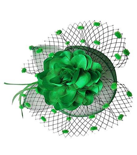 Coolwife Womens Fascinator Veil Flower Cocktail Tea Party Headwear (Green) - Felt Pill Box