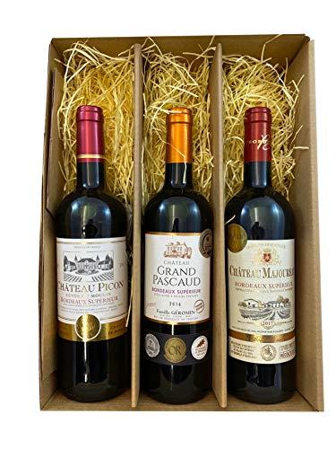 Geschenkset Bordeaux   3 hochwertige französische Rotweine aus Bordeaux mit Goldmedaillen-Prämierung trocken