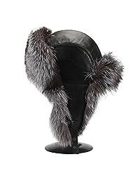 Men's Vintage Leather fox Fur Aviator Hat Russian fur Hat Ushanka Trooper Hat