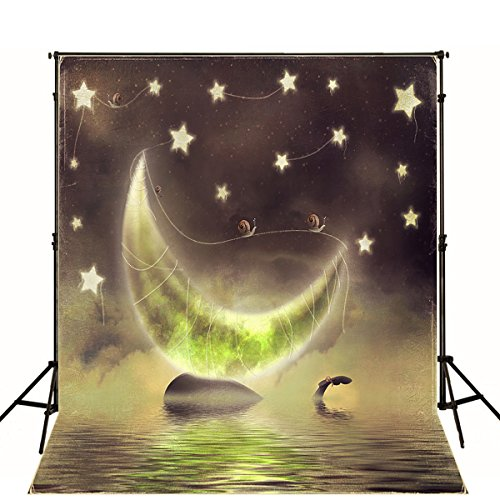 Fluorescence Halloween Moon Stars Night Sky Photography Background Cartoon sea Scenic Photo Backdrop Booth Studio Shoot Picture]()