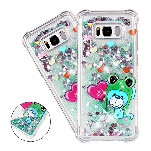 (HMTECHUS Samsung S8 case for Girl 3D Painted Glitter Liquid Sparkle Floating Luxury Quicksand Shockproof?Protective Diamond Silicone Slim Cover for Samsung Galaxy S8 (2017) -Bilng Little Frog YB)