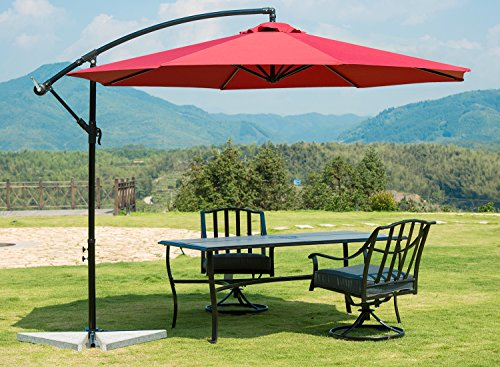 SUNBRANO 10 Ft Cantilever Offset Patio Umbrella Outdoor Aluminum Hanging Umbrella with Crank and Air Vent, 8 Ribs, Red