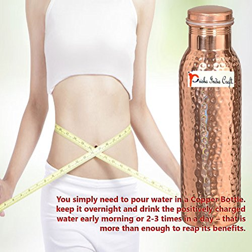 900ml / 30oz – Set of 12 - Prisha India Craft Pure Copper Water Bottle Ayurveda Health Benefits - Best Quality Water Bottles Joint Free, Handmade Christmas Gift by Prisha India Craft (Image #5)'