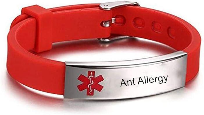 Red Kids Teen Bracelet Armband Silicone Band Bangle Free ID Customized Engraving