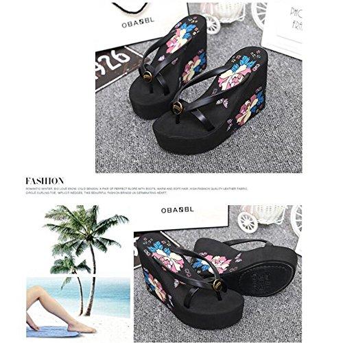 Flops 3EU Femmes Wedge Black Platform Color 1 Plage Flip Talon Chaussures 37 Blue Sandales Size Tongs rr5x6wq