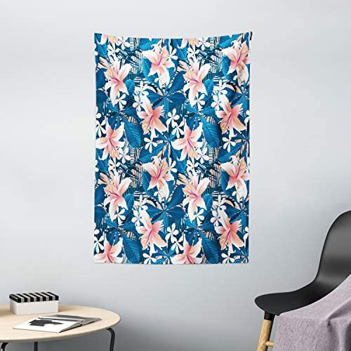 Ambesonne Leaf Tapestry, Singapore Plumeria and Tropical Hibiscus Hawaiian Flowers Grunge Design, Wall Hanging for Bedroom Living Room Dorm Decor, 40 X 60 , Blue White