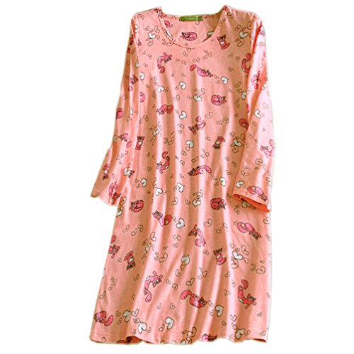 ENJOYNIGHT Women's Cotton Sleepwear Long Sleeves Nightgown Print Tee Sleep Dress (Large, Pink Cat)