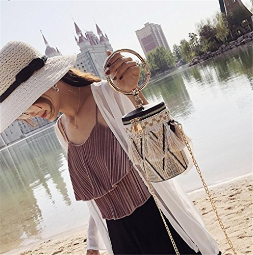 Woven Crossbody Ring 12 Bag Straw Z Black Bag Beach 17CM Chain Bag Handbag ELEGENCE q08tvP