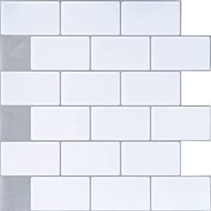 """Ecoart Wall Tile Stickers Peel and Stick Self Adhesive Wall Tile 10"""" X 10"""" Subway White Brick Style(6 Sheets"""