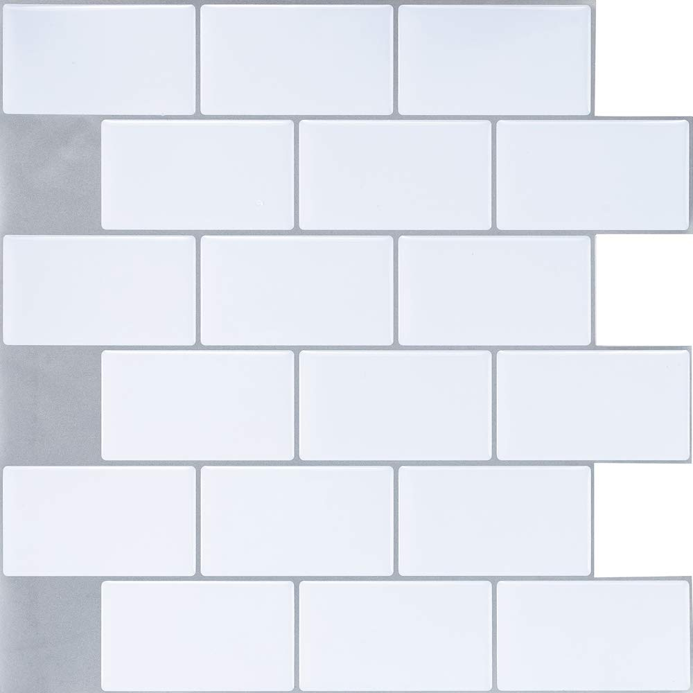 Ecoart Wall Tile Stickers Peel and Stick Self Adhesive Wall Tile 10'' X 10'' Subway White Brick Style(6 Sheets