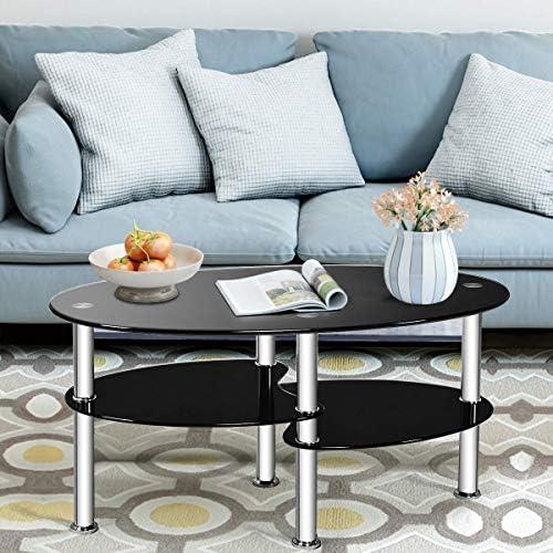SSLine Oval Glass Top Coffee Table