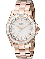 GUESS Womens U0557L2 Stainless Steel Rose Gold-Tone Mid-Size Watch with White Top Ring