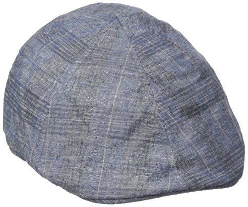 Plaid Print Cap - Van Heusen Men's Chambray Ivy Flat Cap, Plaid Print, Navy, Large/XLarge