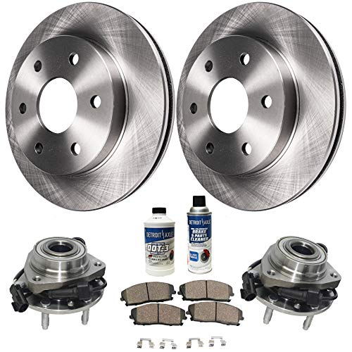Detroit Axle - Front Wheel Hub Bearing, Disc Brake Rotors w/Ceramic Pads for 6 Lug 4x4 4wd - 07-14 Cadillac Escalade - [07-13 Chevy Avalanche] - 07-13 Silverado 1500/ GMC Sierra 1500 - [07-14 Yukon]