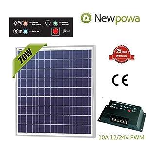 Newpowa 70w Watt 12v Solar Panel + PWM 10A 12v/24v Charge Controller Regulator