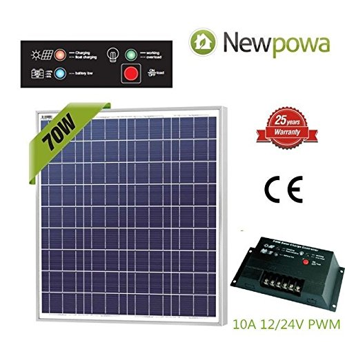 Newpowa 70w Watt 12v Solar Panel + PWM 10A 12v/24v Charge Controller Regulator by Newpowa