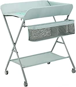 Changing Tables WSF Mobile Folding Baby Changing Table, Newborn Infant Portable Diaper and Dresser Station Changer Unit, Load 25kg (Color : Light green)