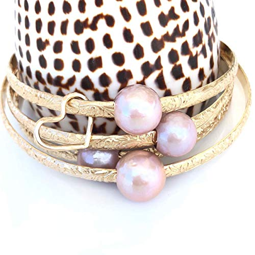 (Pink Edison Pearl Hawaiian Heirloom Bangle Bracelet, Pink pearl bracelet, Pearl Bracelets for Women, Bangle Bracelets for Women, 14K Gold Filled, 14K Rose Gold Filled, Sterling Silver)