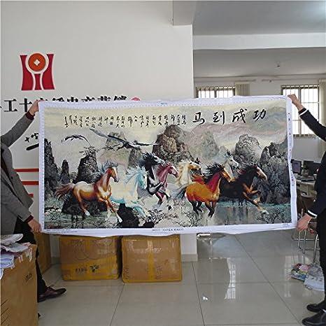 AIGUFENG Hecho a mano en punto de cruz acabado paisaje paisaje pintura ocho caballos Tuma para bordar con éxito buenos ocho fuertes caballos,230 * 120 cm: ...