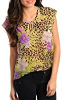 Sexy Exotic Wild Tan & Purple Floral Sheer Blouse SML
